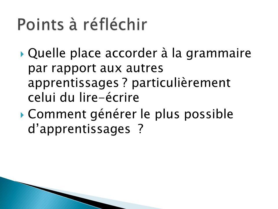 Quelle place accorder à la grammaire par rapport aux autres apprentissages ? particulièrement celui du lire-écrire Comment générer le plus possible da