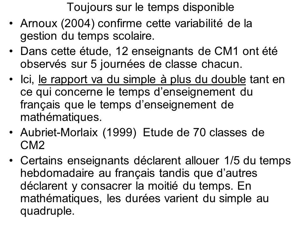 Toujours sur le temps disponible Arnoux (2004) confirme cette variabilité de la gestion du temps scolaire. Dans cette étude, 12 enseignants de CM1 ont