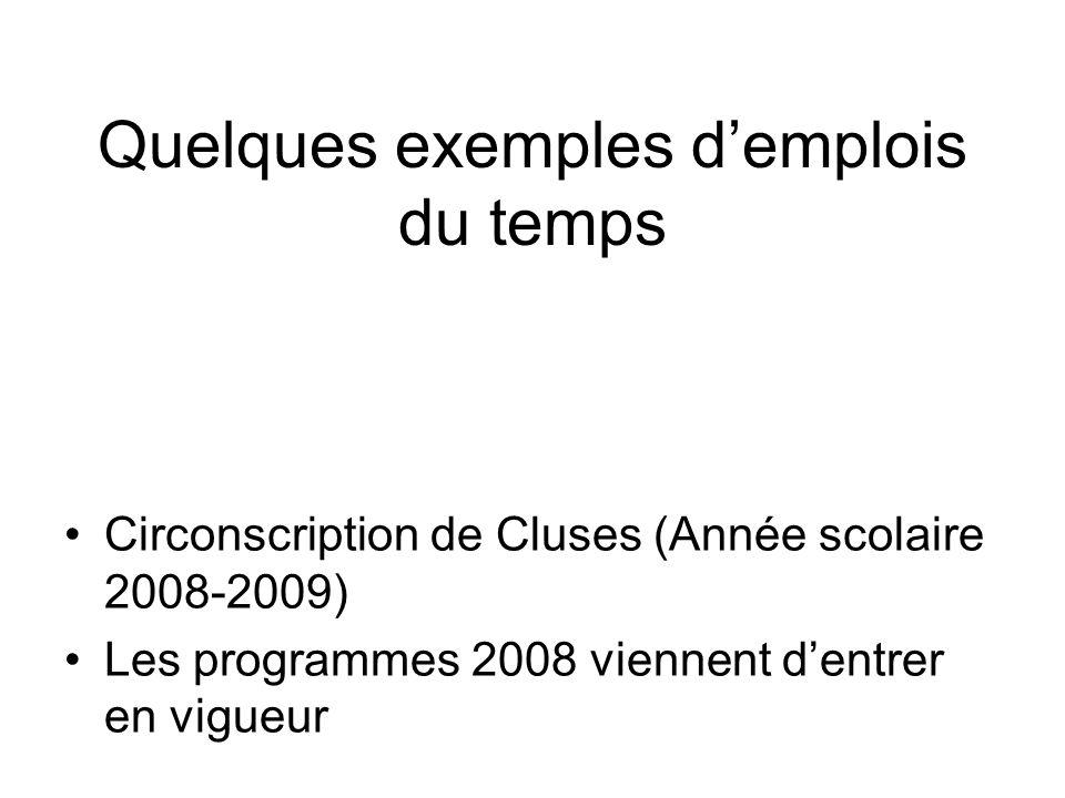 Quelques exemples demplois du temps Circonscription de Cluses (Année scolaire 2008-2009) Les programmes 2008 viennent dentrer en vigueur