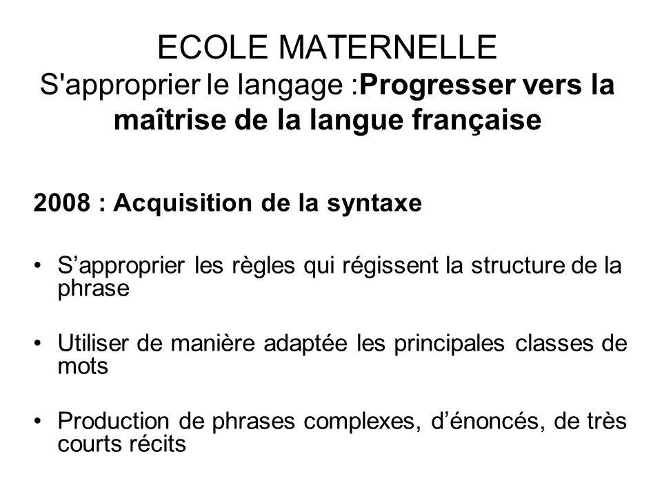 ECOLE MATERNELLE S'approprier le langage :Progresser vers la maîtrise de la langue française 2008 : Acquisition de la syntaxe Sapproprier les règles q