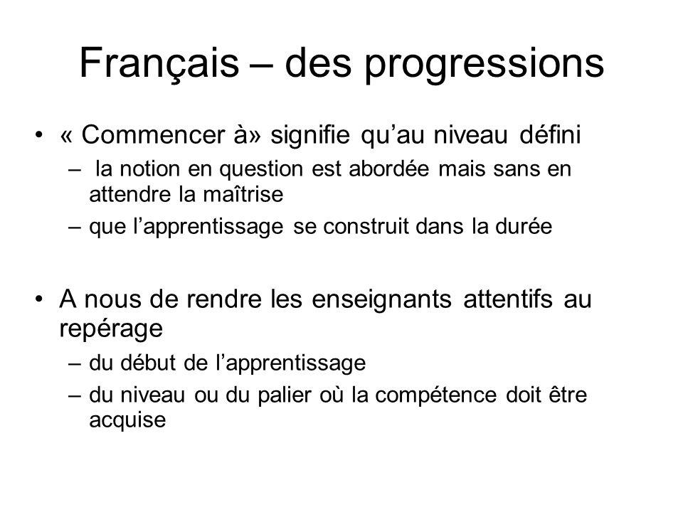 Français – des progressions « Commencer à» signifie quau niveau défini – la notion en question est abordée mais sans en attendre la maîtrise –que lapp