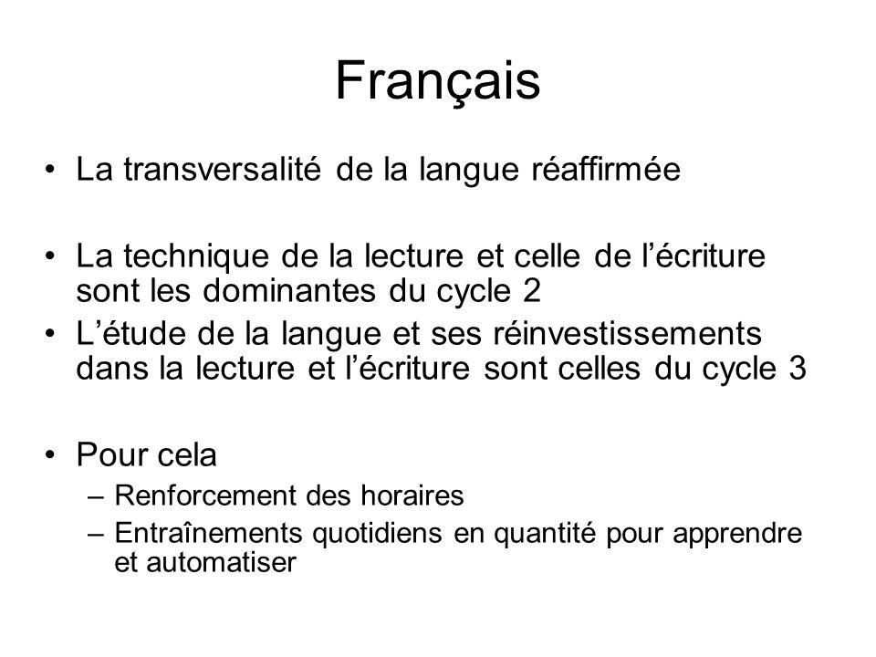 Français La transversalité de la langue réaffirmée La technique de la lecture et celle de lécriture sont les dominantes du cycle 2 Létude de la langue