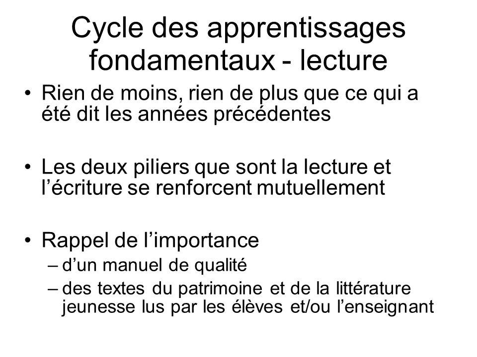 Cycle des apprentissages fondamentaux - lecture Rien de moins, rien de plus que ce qui a été dit les années précédentes Les deux piliers que sont la l