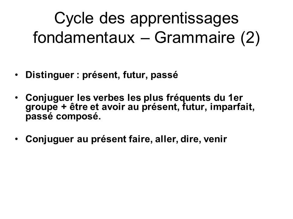 Cycle des apprentissages fondamentaux – Grammaire (2) Distinguer : présent, futur, passé Conjuguer les verbes les plus fréquents du 1er groupe + être