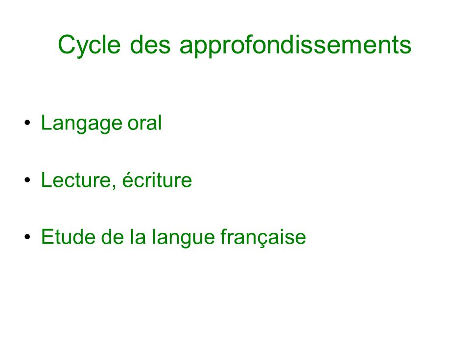 Cycle des approfondissements Langage oral Lecture, écriture Etude de la langue française