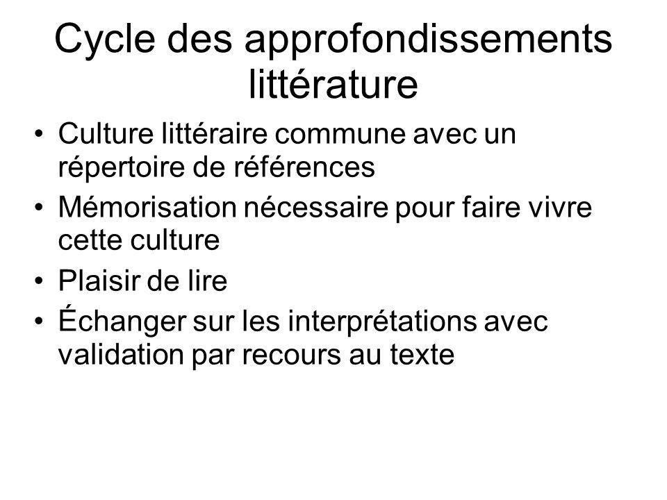 Cycle des approfondissements littérature Culture littéraire commune avec un répertoire de références Mémorisation nécessaire pour faire vivre cette cu