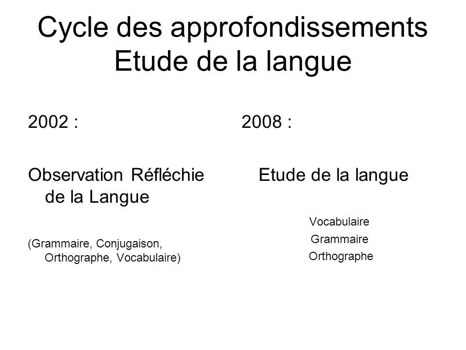 Cycle des approfondissements Etude de la langue 2002 : Observation Réfléchie de la Langue (Grammaire, Conjugaison, Orthographe, Vocabulaire) 2008 : Et