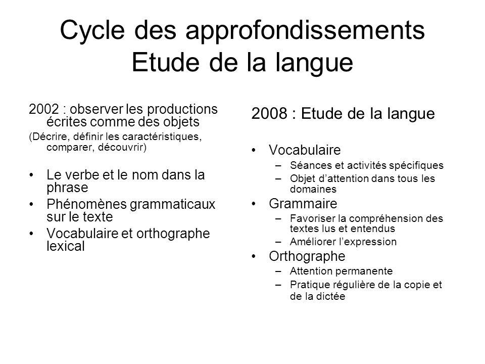 Cycle des approfondissements Etude de la langue 2002 : observer les productions écrites comme des objets (Décrire, définir les caractéristiques, compa