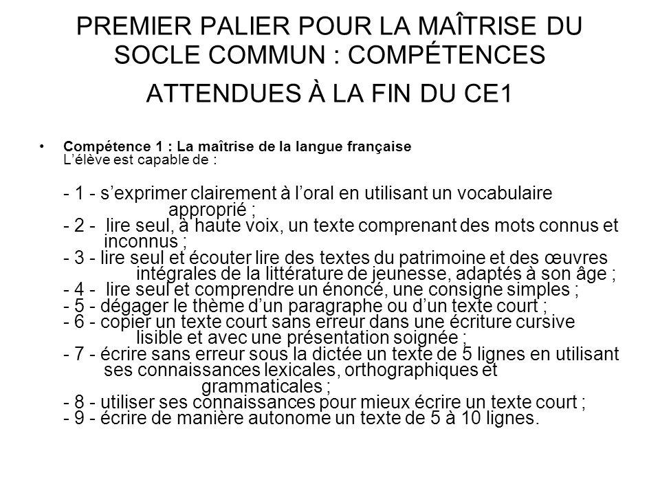 PREMIER PALIER POUR LA MAÎTRISE DU SOCLE COMMUN : COMPÉTENCES ATTENDUES À LA FIN DU CE1 Compétence 1 : La maîtrise de la langue française Lélève est c