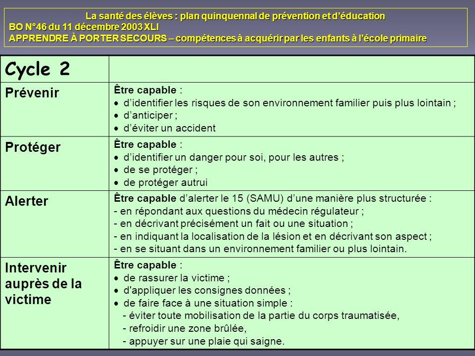 La santé des élèves : plan quinquennal de prévention et déducation BO N°46 du 11 décembre 2003 XLI APPRENDRE À PORTER SECOURS – compétences à acquérir