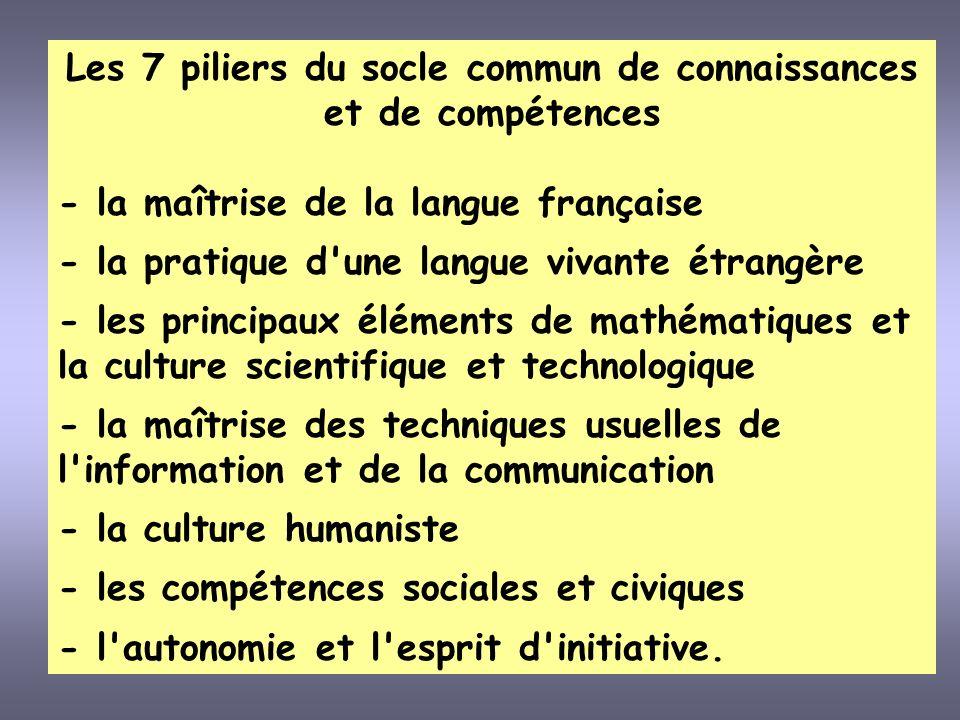 Les 7 piliers du socle commun de connaissances et de compétences - la maîtrise de la langue française - la pratique d'une langue vivante étrangère - l