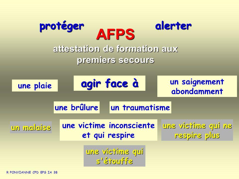 AFPS attestation de formation aux premiers secours protégeralerter une victime qui s'étouffe un saignement abondamment une victime inconsciente et qui