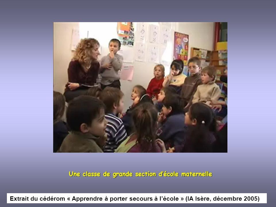 Une classe de grande section décole maternelle Extrait du cédérom « Apprendre à porter secours à lécole » (IA Isère, décembre 2005)