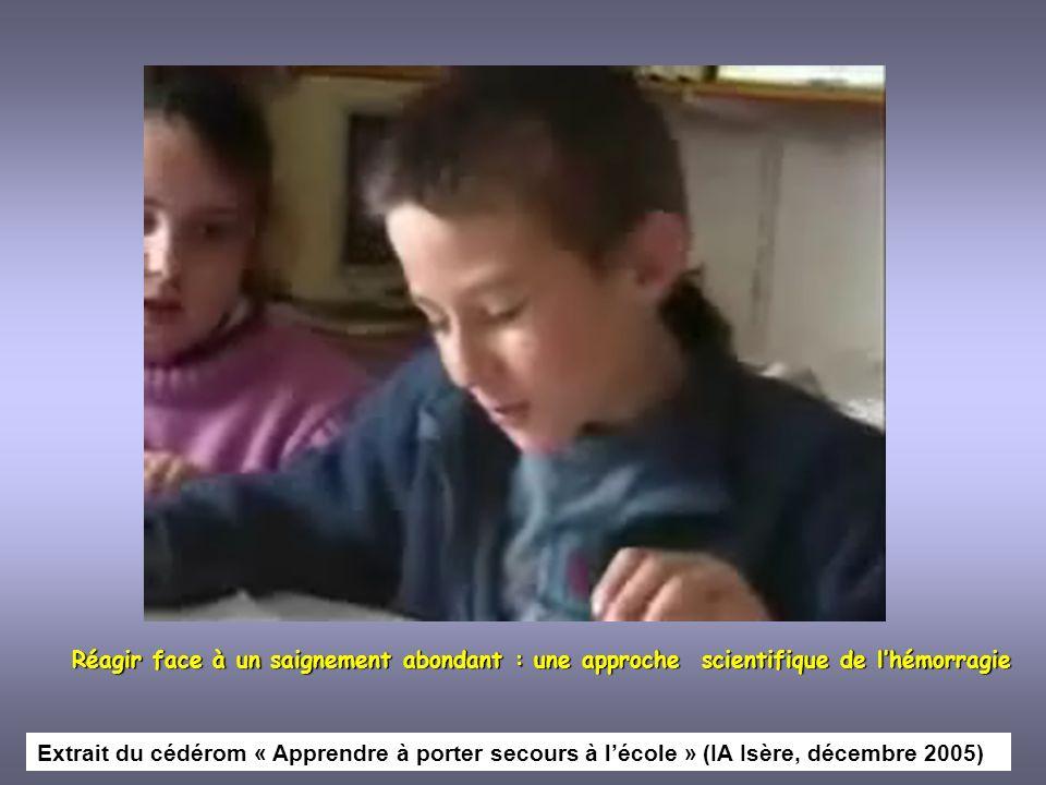 De lapprentissage des premiers secours aux apprentissages en sciences Extrait du cédérom « Apprendre à porter secours à lécole » (IA Isère, décembre 2005)