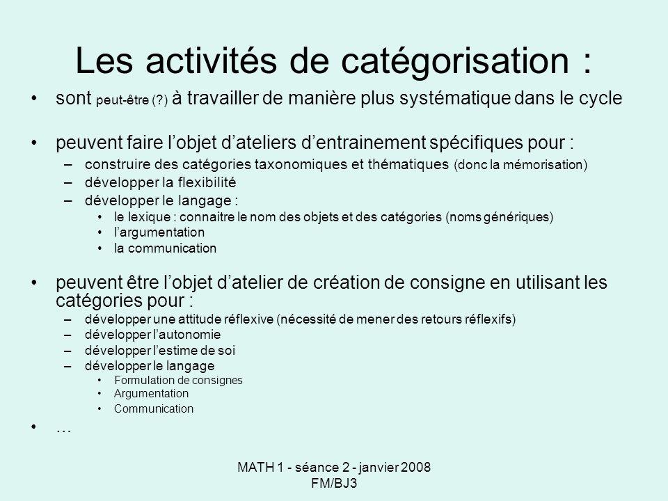 MATH 1 - séance 2 - janvier 2008 FM/BJ3 Les activités de catégorisation : sont peut-être (?) à travailler de manière plus systématique dans le cycle peuvent faire lobjet dateliers dentrainement spécifiques pour : –construire des catégories taxonomiques et thématiques (donc la mémorisation) –développer la flexibilité –développer le langage : le lexique : connaitre le nom des objets et des catégories (noms génériques) largumentation la communication peuvent être lobjet datelier de création de consigne en utilisant les catégories pour : –développer une attitude réflexive (nécessité de mener des retours réflexifs) –développer lautonomie –développer lestime de soi –développer le langage Formulation de consignes Argumentation Communication …