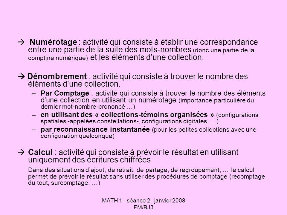 MATH 1 - séance 2 - janvier 2008 FM/BJ3 Numérotage : activité qui consiste à établir une correspondance entre une partie de la suite des mots-nombres (donc une partie de la comptine numérique) et les éléments dune collection.
