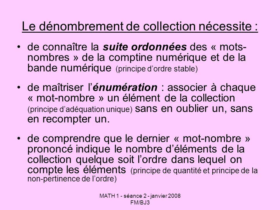 MATH 1 - séance 2 - janvier 2008 FM/BJ3 Le dénombrement de collection nécessite : de connaître la suite ordonnées des « mots- nombres » de la comptine