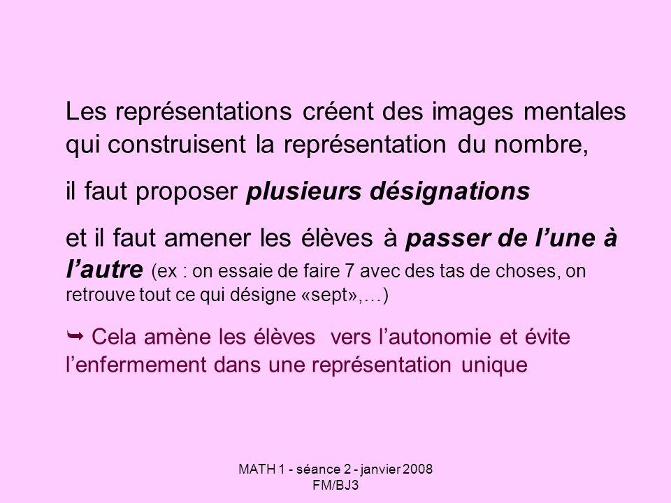MATH 1 - séance 2 - janvier 2008 FM/BJ3 Les représentations créent des images mentales qui construisent la représentation du nombre, il faut proposer