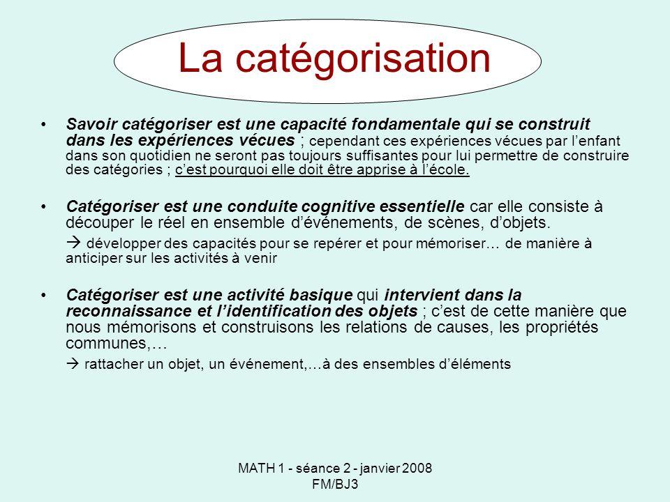 MATH 1 - séance 2 - janvier 2008 FM/BJ3 La catégorisation Savoir catégoriser est une capacité fondamentale qui se construit dans les expériences vécue