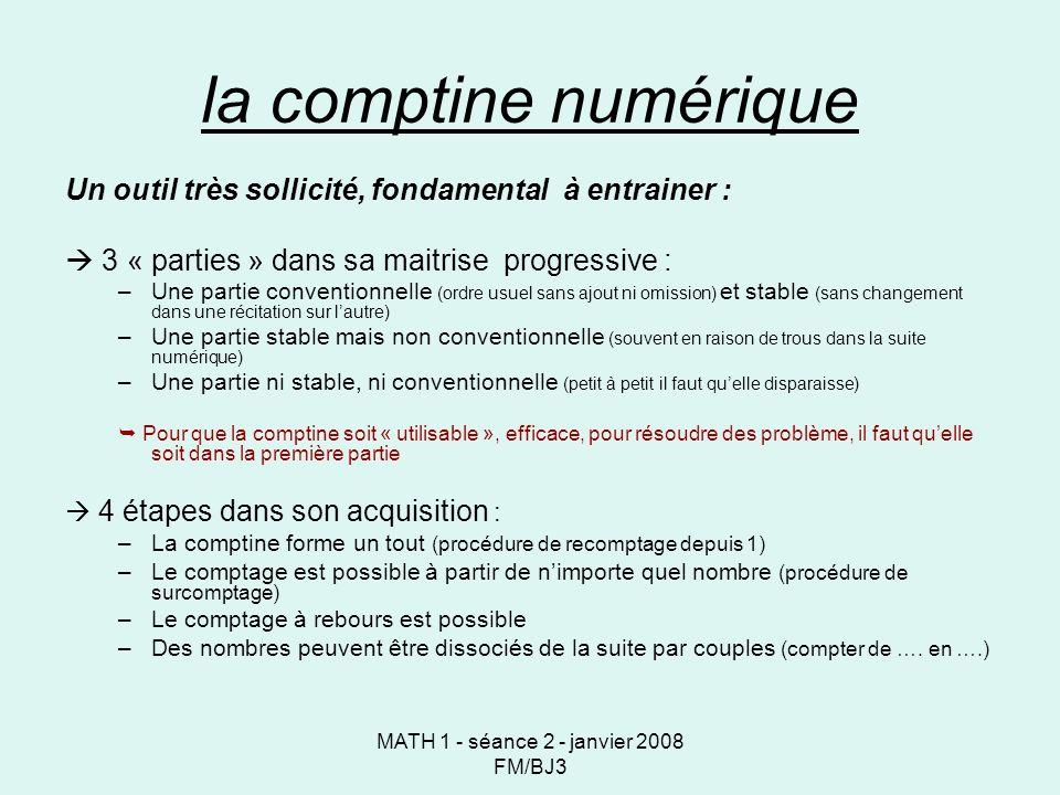MATH 1 - séance 2 - janvier 2008 FM/BJ3 la comptine numérique Un outil très sollicité, fondamental à entrainer : 3 « parties » dans sa maitrise progressive : –Une partie conventionnelle (ordre usuel sans ajout ni omission) et stable (sans changement dans une récitation sur lautre) –Une partie stable mais non conventionnelle (souvent en raison de trous dans la suite numérique) –Une partie ni stable, ni conventionnelle (petit à petit il faut quelle disparaisse) Pour que la comptine soit « utilisable », efficace, pour résoudre des problème, il faut quelle soit dans la première partie 4 étapes dans son acquisition : –La comptine forme un tout (procédure de recomptage depuis 1) –Le comptage est possible à partir de nimporte quel nombre (procédure de surcomptage) –Le comptage à rebours est possible –Des nombres peuvent être dissociés de la suite par couples (compter de ….