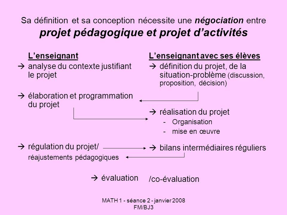 MATH 1 - séance 2 - janvier 2008 FM/BJ3 Sa définition et sa conception nécessite une négociation entre projet pédagogique et projet dactivités Lenseig