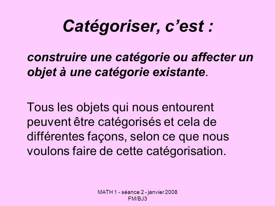 MATH 1 - séance 2 - janvier 2008 FM/BJ3 Catégoriser, cest : construire une catégorie ou affecter un objet à une catégorie existante. Tous les objets q