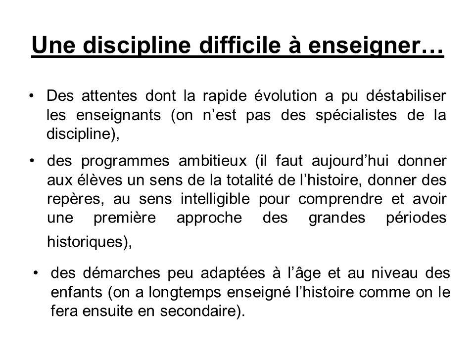 Une discipline difficile à enseigner… Des attentes dont la rapide évolution a pu déstabiliser les enseignants (on nest pas des spécialistes de la disc