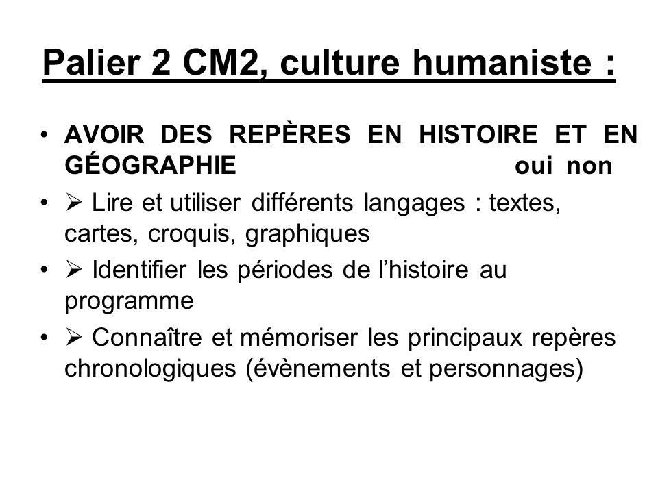 Palier 2 CM2, culture humaniste : AVOIR DES REPÈRES EN HISTOIRE ET EN GÉOGRAPHIE oui non Lire et utiliser différents langages : textes, cartes, croqui