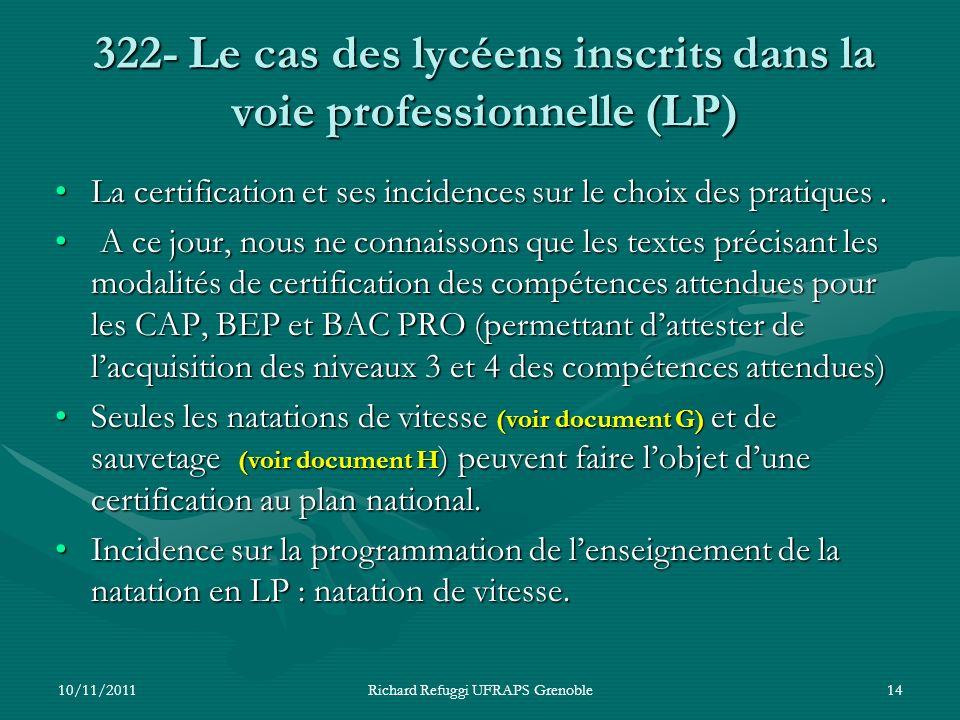 322- Le cas des lycéens inscrits dans la voie professionnelle (LP) La certification et ses incidences sur le choix des pratiques.La certification et s
