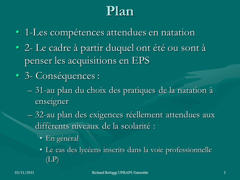 Plan 1-Les compétences attendues en natation1-Les compétences attendues en natation 2- Le cadre à partir duquel ont été ou sont à penser les acquisiti