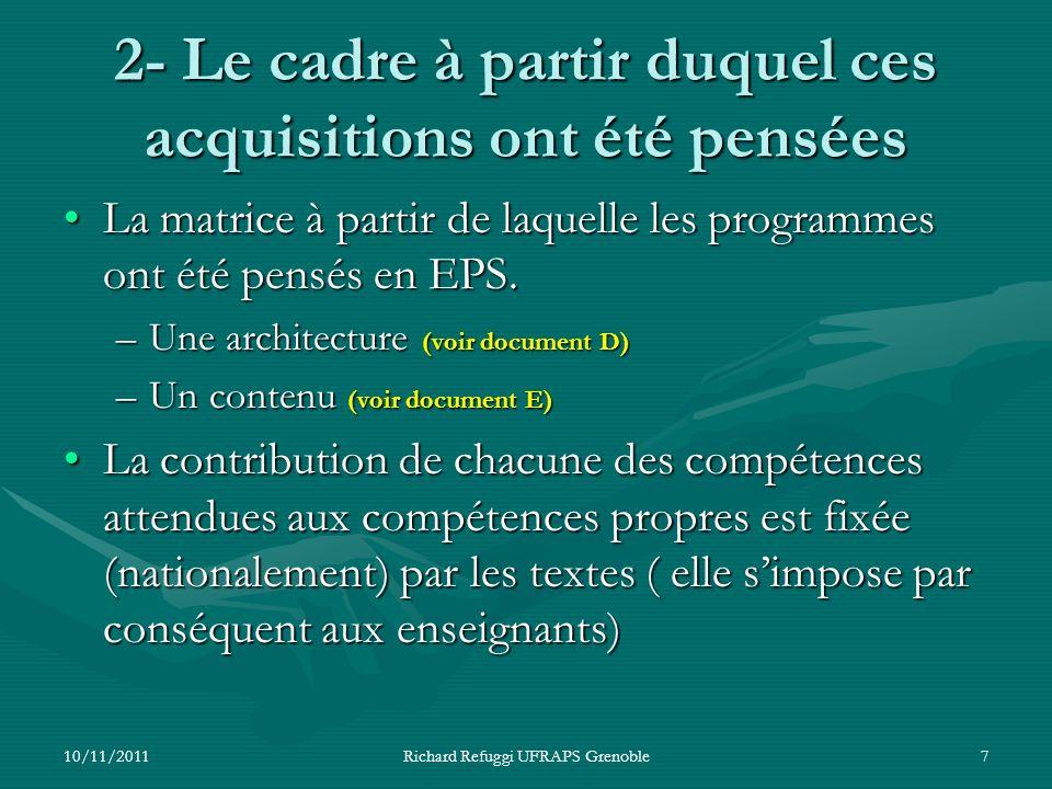 2- Le cadre à partir duquel ces acquisitions ont été pensées La matrice à partir de laquelle les programmes ont été pensés en EPS.La matrice à partir