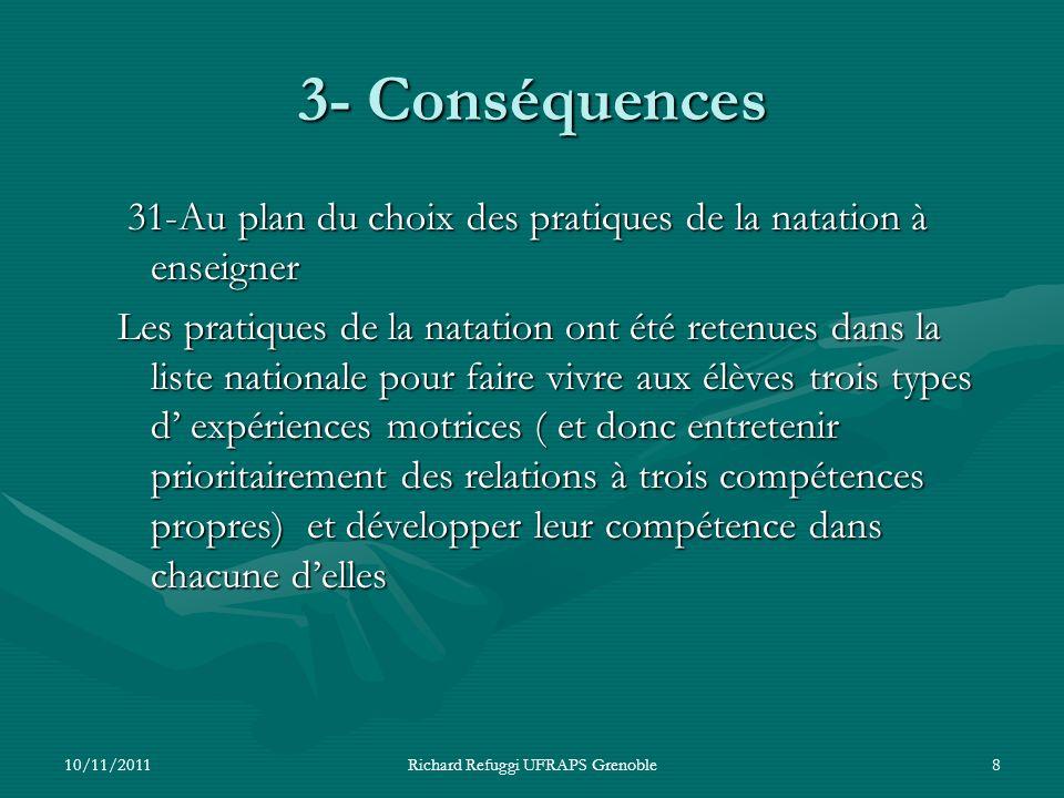 3- Conséquences 31-Au plan du choix des pratiques de la natation à enseigner 31-Au plan du choix des pratiques de la natation à enseigner Les pratique