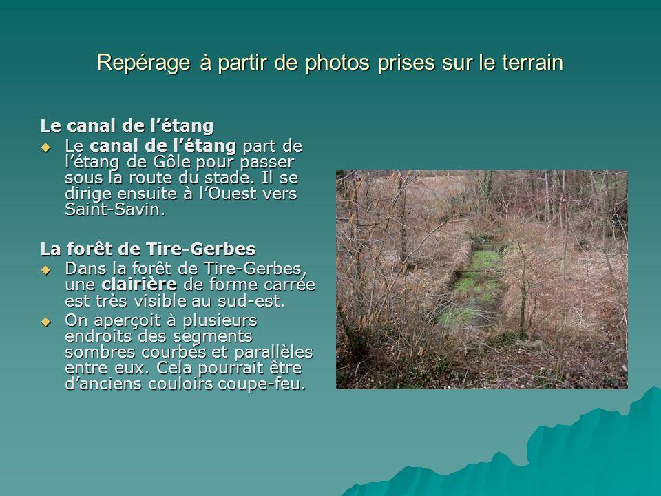 Repérage à partir de photos prises sur le terrain Le canal de létang Le canal de létang part de létang de Gôle pour passer sous la route du stade. Il