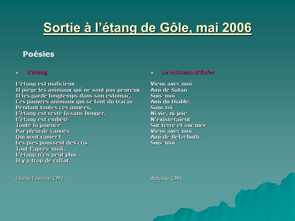 Sortie à létang de Gôle, mai 2006 Létang Létang Létang est malicieux Il piège les animaux qui ne sont pas peureux Il les garde longtemps dans son esto