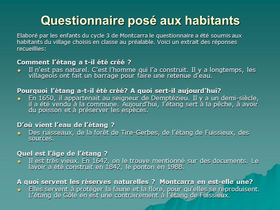 Questionnaire posé aux habitants Elaboré par les enfants du cycle 3 de Montcarra le questionnaire a été soumis aux habitants du village choisis en cla