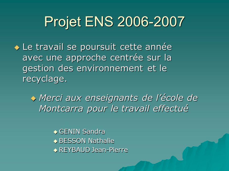 Projet ENS 2006-2007 Le travail se poursuit cette année avec une approche centrée sur la gestion des environnement et le recyclage. Le travail se pour