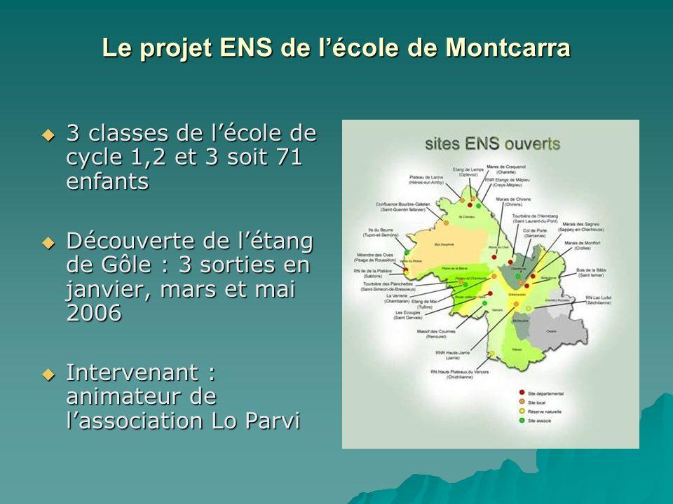 Le projet ENS de lécole de Montcarra 3 classes de lécole de cycle 1,2 et 3 soit 71 enfants 3 classes de lécole de cycle 1,2 et 3 soit 71 enfants Décou
