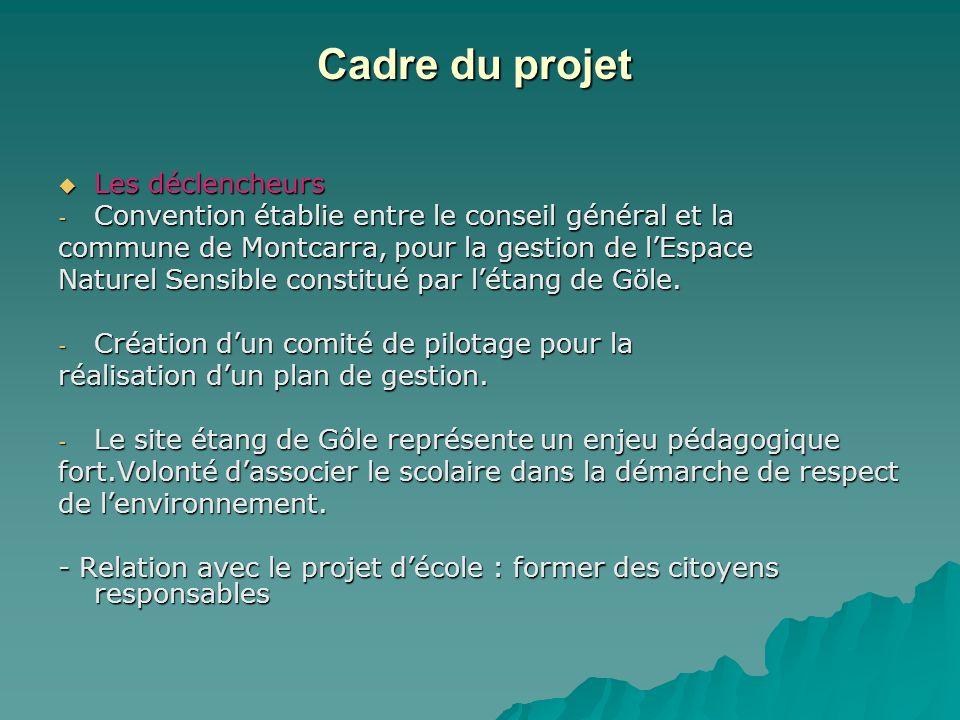 Cadre du projet Cadre du projet Les déclencheurs Les déclencheurs - Convention établie entre le conseil général et la commune de Montcarra, pour la ge