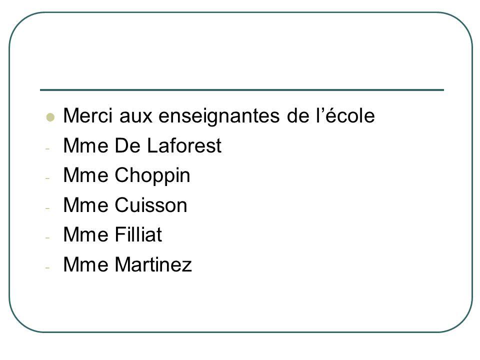 Merci aux enseignantes de lécole - Mme De Laforest - Mme Choppin - Mme Cuisson - Mme Filliat - Mme Martinez