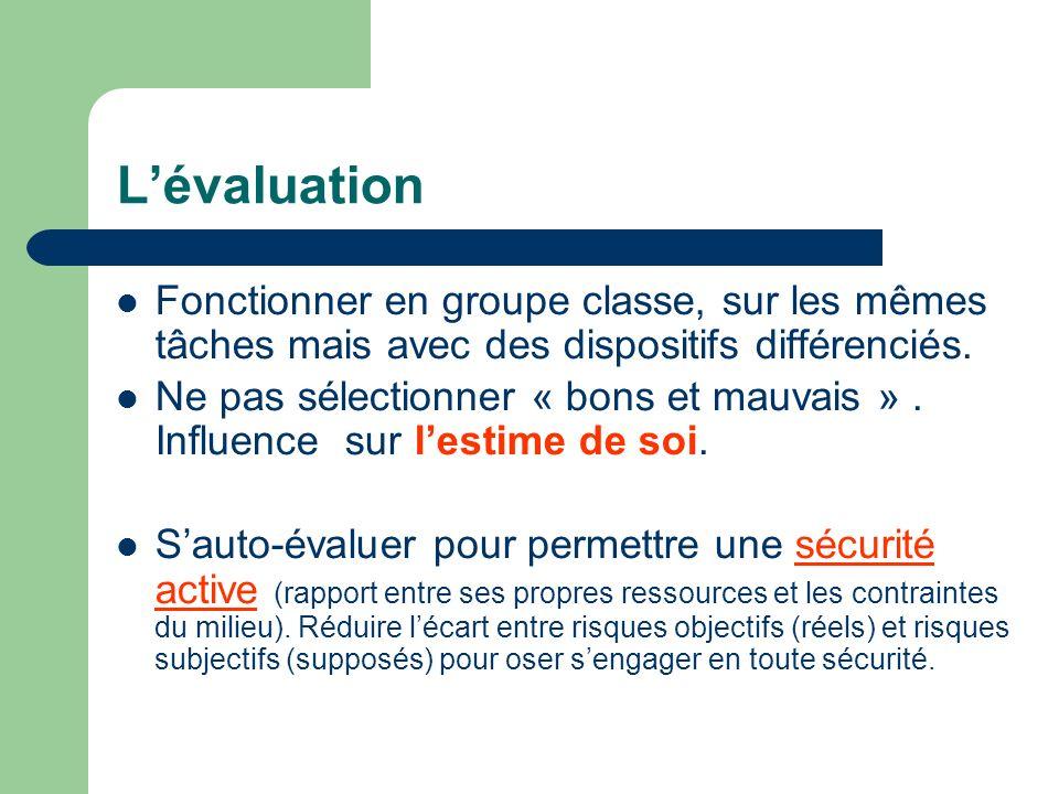 Lévaluation Fonctionner en groupe classe, sur les mêmes tâches mais avec des dispositifs différenciés. Ne pas sélectionner « bons et mauvais ». Influe
