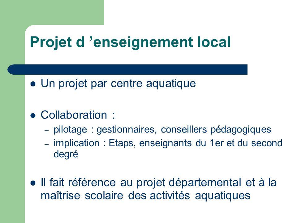 Projet d enseignement local Un projet par centre aquatique Collaboration : – pilotage : gestionnaires, conseillers pédagogiques – implication : Etaps,