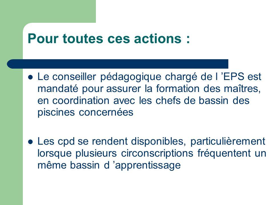 Pour toutes ces actions : Le conseiller pédagogique chargé de l EPS est mandaté pour assurer la formation des maîtres, en coordination avec les chefs