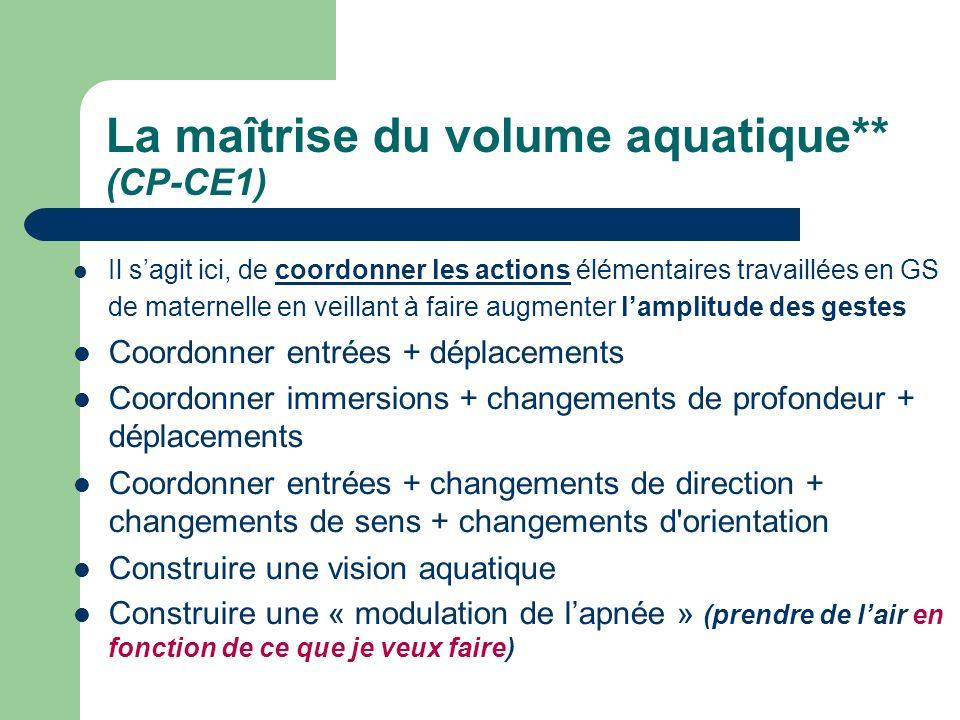 La maîtrise du volume aquatique** (CP-CE1) Il sagit ici, de coordonner les actions élémentaires travaillées en GS de maternelle en veillant à faire au