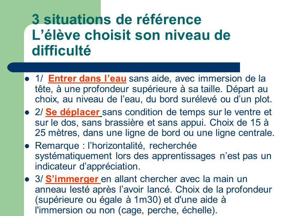 3 situations de référence Lélève choisit son niveau de difficulté 1/ Entrer dans leau sans aide, avec immersion de la tête, à une profondeur supérieur