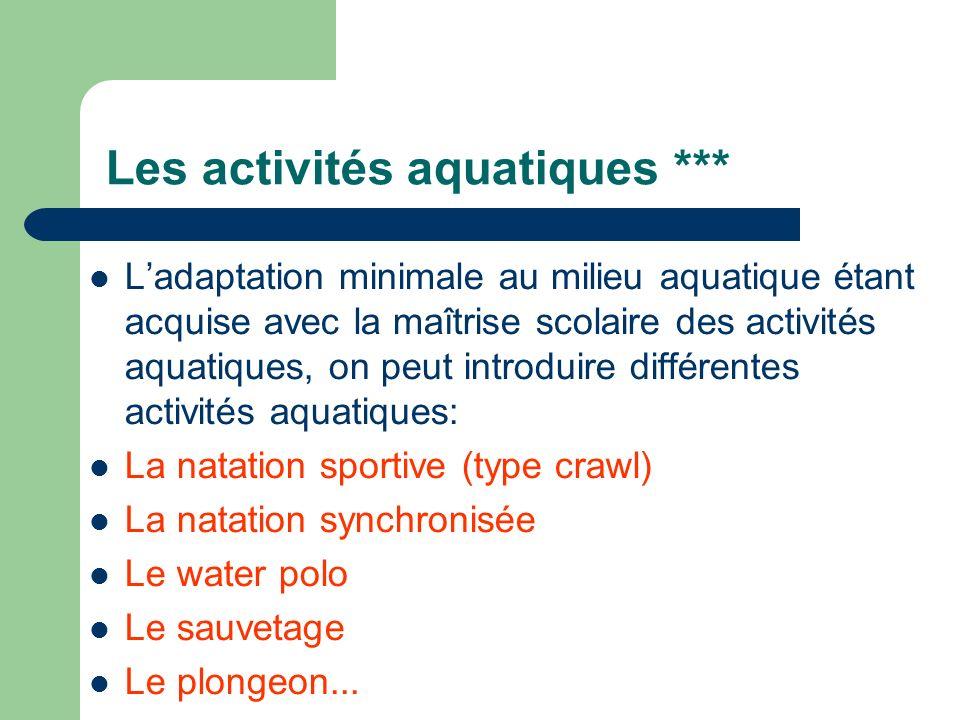 Les activités aquatiques *** Ladaptation minimale au milieu aquatique étant acquise avec la maîtrise scolaire des activités aquatiques, on peut introd