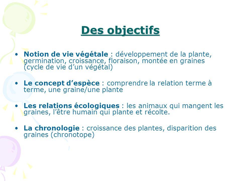 Des objectifs Notion de vie végétale : développement de la plante, germination, croissance, floraison, montée en graines (cycle de vie dun végétal) Le
