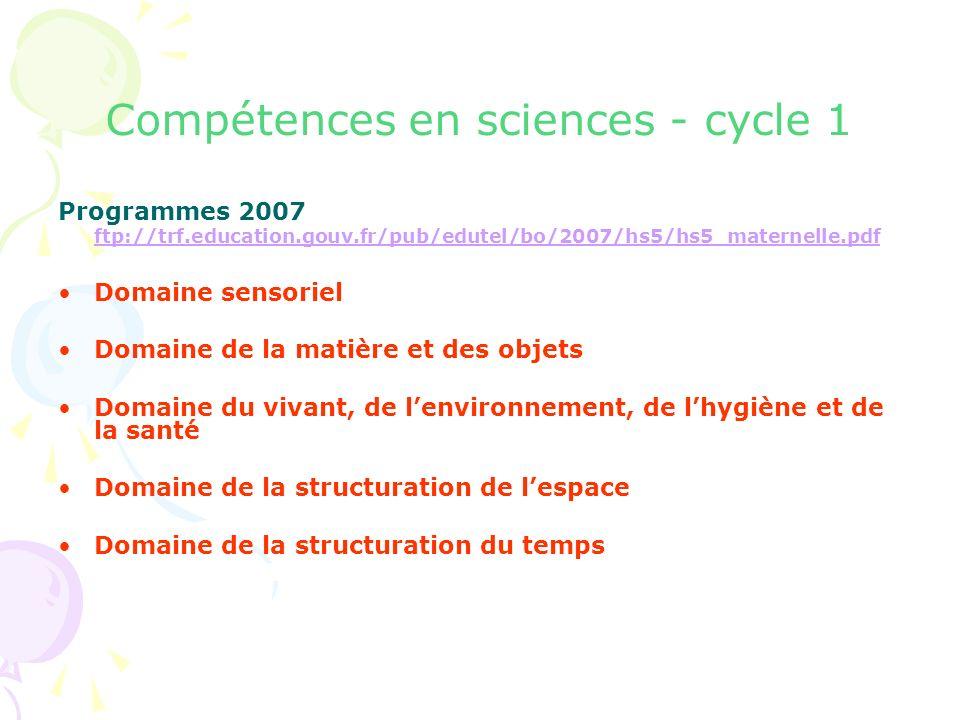 Compétences en sciences - cycle 1 Programmes 2007 ftp://trf.education.gouv.fr/pub/edutel/bo/2007/hs5/hs5_maternelle.pdf ftp://trf.education.gouv.fr/pu