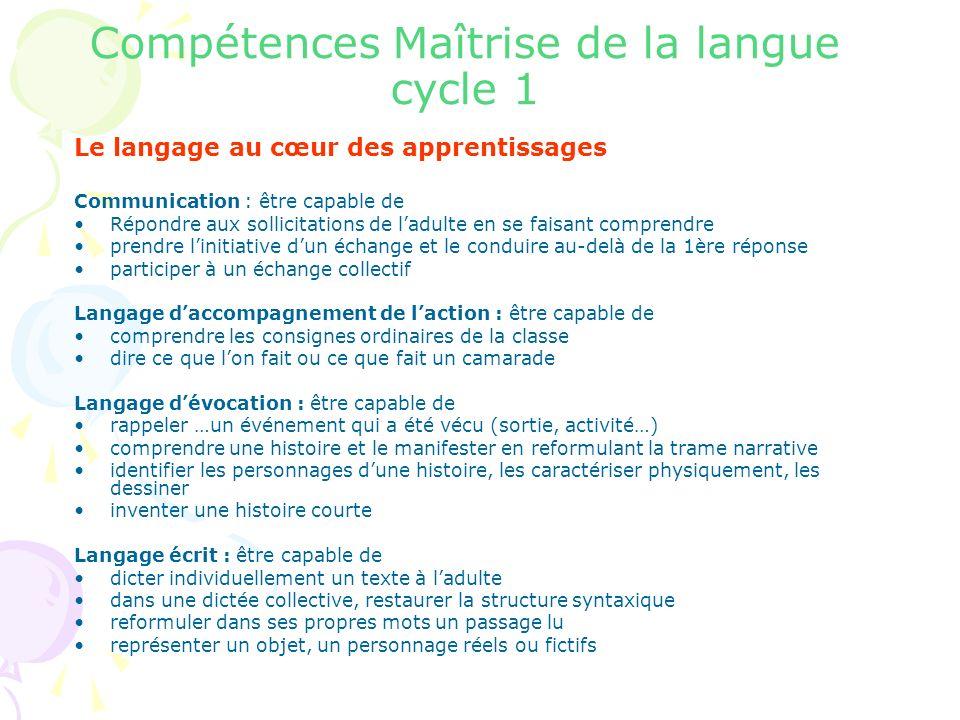 Compétences Maîtrise de la langue cycle 1 Le langage au cœur des apprentissages Communication : être capable de Répondre aux sollicitations de ladulte