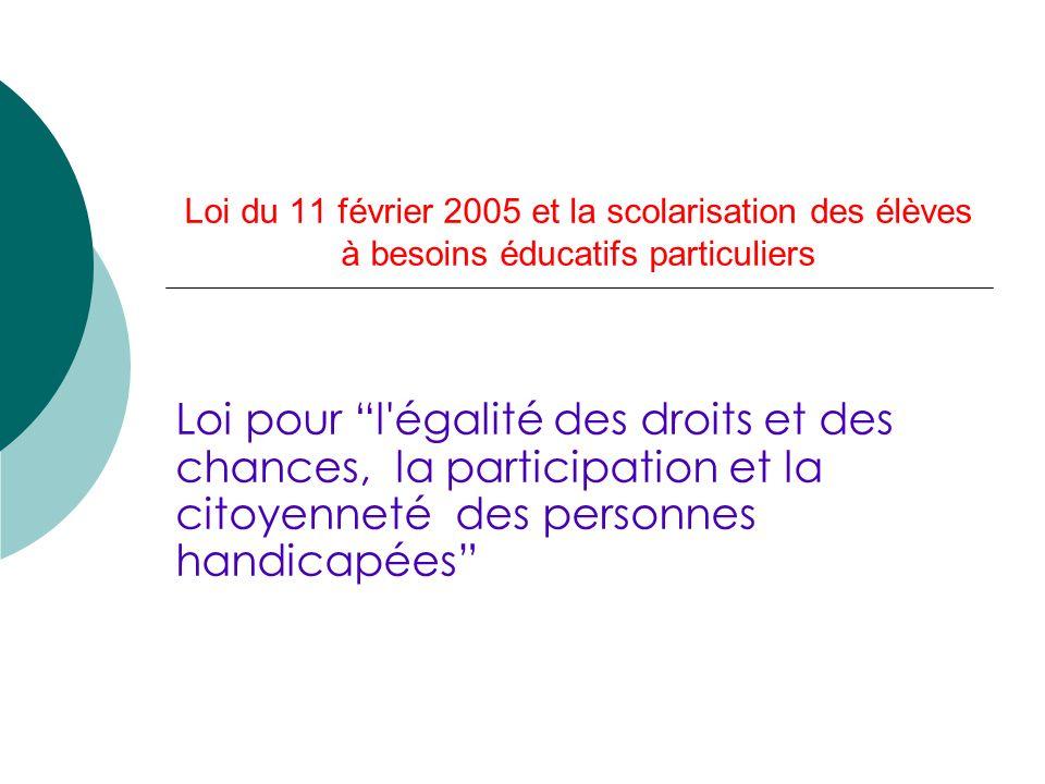 Loi du 11 février 2005 et la scolarisation des élèves à besoins éducatifs particuliers Loi pour l égalité des droits et des chances, la participation et la citoyenneté des personnes handicapées