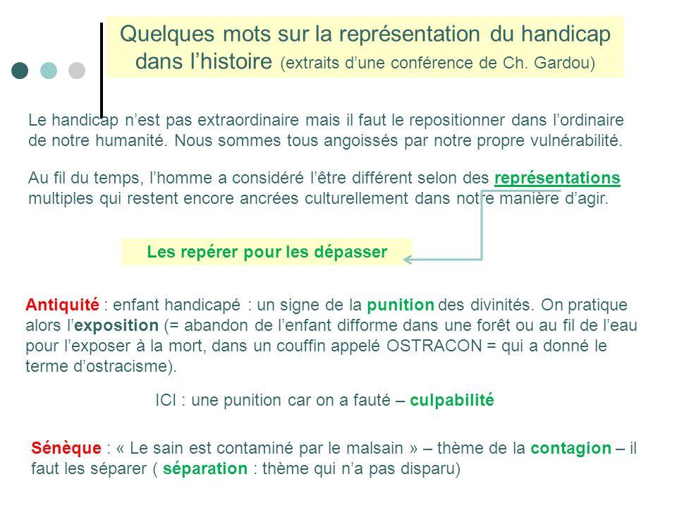 Les repérer pour les dépasser Quelques mots sur la représentation du handicap dans lhistoire (extraits dune conférence de Ch.